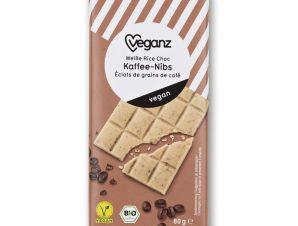 Λευκή Σοκολάτα Bio Γάλα Ρυζιού & Νιφάδες Καφέ 80g